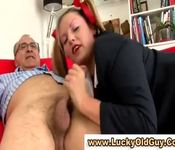 European babe in stockings gives lucky old man a blowjob