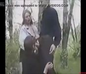 Daughters blow dad in the forest