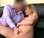 Fake agent sex with shy blonde babe